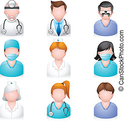 icone, persone, -, medico