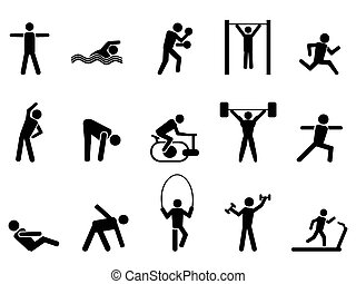 icone, persone, nero, set, idoneità