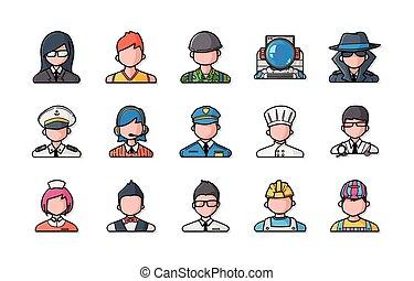 icone, persone, set, occupazioni, eps10
