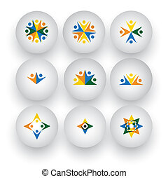 icone, persone, unità, vettore, comunità, gioco, bambini, felice