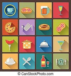 icone, piatto cibo, set, appartamento