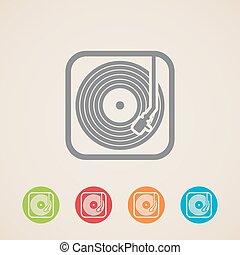 icone, record., giocatore, disco, vinile, vettore