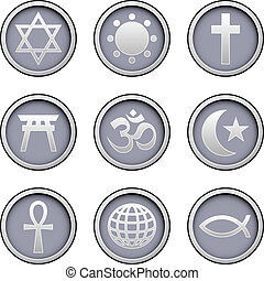 icone, religioni, set, mondo