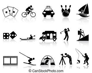 icone, ricreazione, set, ozio
