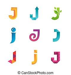 icone, sagoma, logotipo, set, elements., collezione, lettera, disegno, j