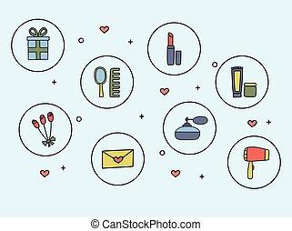 icone, scarabocchiare, accessori, illustrazione, mano, vettore, cosmetica, disegnato, style., donne