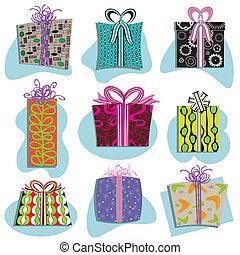 icone, scatole, regalo, retro