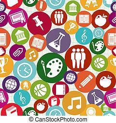 icone, seamless, indietro, pattern., scuola, educazione