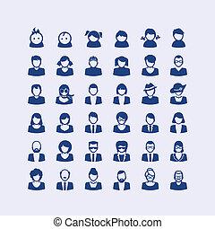 icone, set, avatar