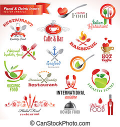 icone, set, cibo, bevanda