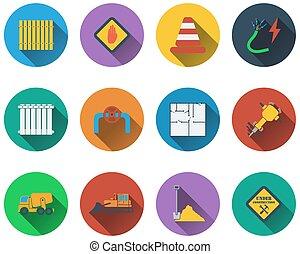 icone, set, costruzione