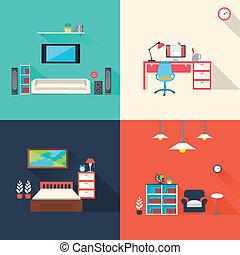 icone, set, creativo, mobilia, disegno, appartamento