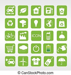 icone, set., ecologia, vettore, 24