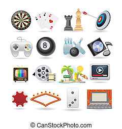 icone, set, intrattenimento