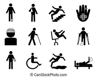 icone, set, lesione