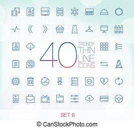 icone, set, magro, 40, 6