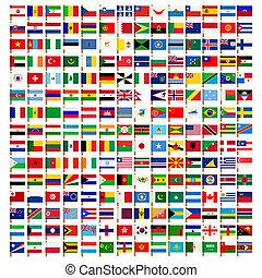 icone, set, mondo, bandiera