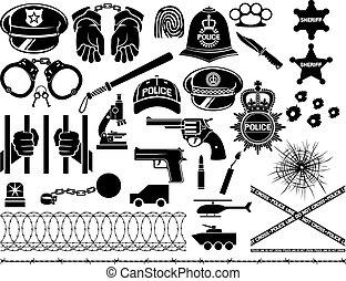 icone, set, polizia
