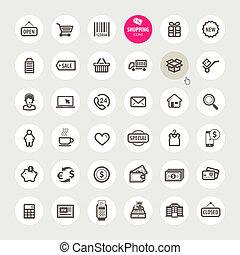 icone, set, shopping