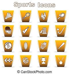 icone, set, sport