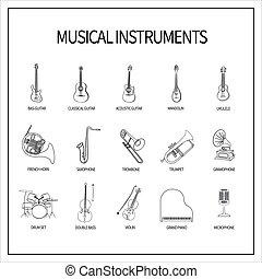 icone, set, strumenti, musicale