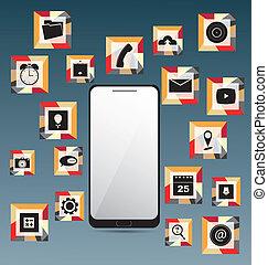 icone, set, telefono, mobile