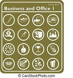 icone, set, ufficio, affari