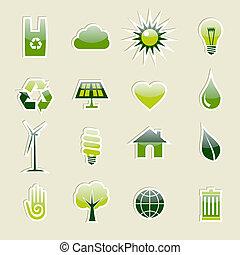 icone, set, verde, ambiente