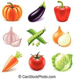icone, set, vettore, verdura