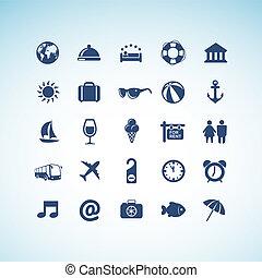 icone, set, viaggiare