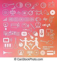 icone, -, sfocato, simboli, fondo, musicale