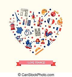 icone, simboli, cuore, francia, viaggiare, famoso, cartolina, francese