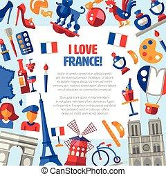 icone, simboli, francia, viaggiare, cerchio, famoso, cartolina, francese