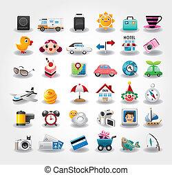 icone, simbolo, viaggiare, illustrazione, vettore, collection.