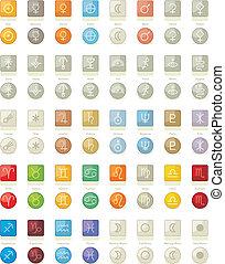 icone, sistema, solare, pacco
