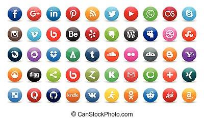 icone, sociale, 50