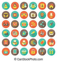 icone, sociale, networking, appartamento, rotondo