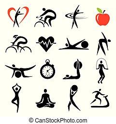 icone, sport, sets., salute, idoneità