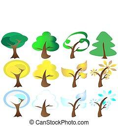 icone, stagioni, quattro, albero