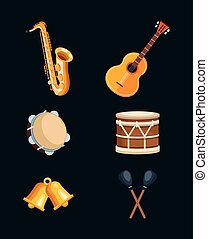 icone, strumenti musicali, set