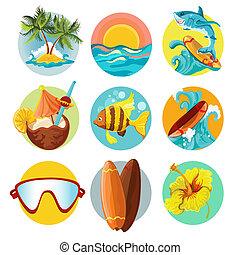 icone, surfing, set