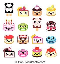 icone, torta, carino, -, dessert, kawaii