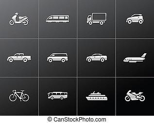 icone, trasporto, metallico, -