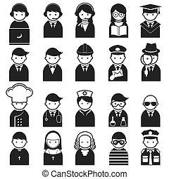 icone, vario, persone, occupazione