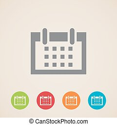 icone, vettore, calendario