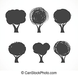 icone, vettore, collezione, albero