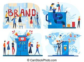 icone, vettore, costruzione, corporativo, illustrazioni, prodotto, appartamento, processo, marca, creare, sviluppatore, cartone animato, squadra affari, persone, workflow, marcare caldo