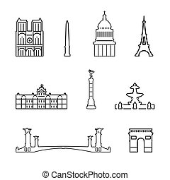 icone, vettore, francia