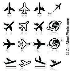 icone, volo, aeroporto, set, aereo