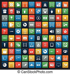 icone, web, cinema, set, 100